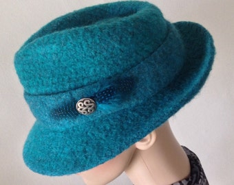 Felted Wool Turquoise Fedora Hat with Felted Band - Handmade - Any Size  -Any Color - Made to Order