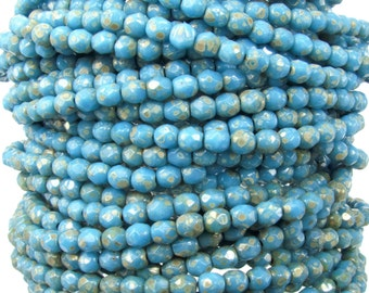 4mm Faceted Opaque Dark Blue Turquoise Silver Picasso Firepolish Czech Glass Beads - Qty 50 (DW56)