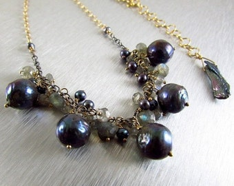 25% Off Summer Sale Grey Pearl and Labradorite With Mixed Metal Necklace.