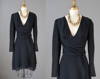 Emanuel Ungaro Dress | vintage 1990s little black dress | classic silk LBD