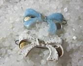 vintage barrette white bow and soft blue bow , set of two