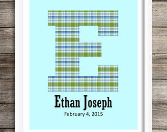 Custom Letter Art, Baby Boy Nursery, Baby Monogram, Kids Wall Art, Boy Nursery Decor, Personalized Nursery, Kids Gift, Blue Green Plaid