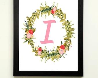Letter I Printable, 8x10 Instant Download, Baby Girl Nursery Art, Nursery Wall Decor, Floral Monogram, Baby Girl Gift, Baby Shower Gift