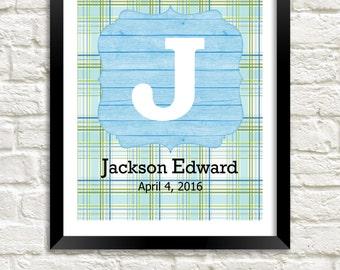 Personalized Nursery Wall Art, Baby Boy Nursery, Boy Nursery Decor, Personalized Baby, Kids Gift, Nursery Monogram, Green Blue Nursery Art