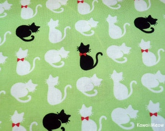 Kawaii Japanese Fabric - Cute Cats on Green - Fat Quarter - (sh151016)