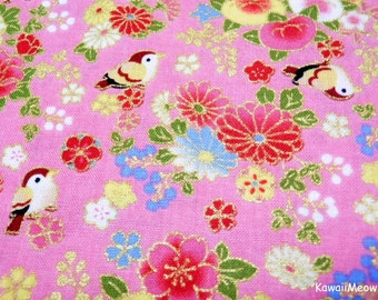 "Last One / Scrap - Chirp Chirp Sakura on Pink - 110cm x 60cm (43""W x 23.6""L) (ta160528)"
