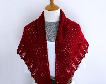 Cranberry Shawl. Hand Knit Shawl/Wrap.