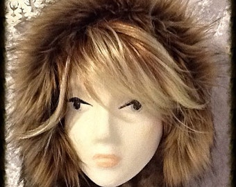 Faux Fur Brown Mink Hooded Scarf with Spotted Wolf Trim
