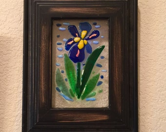 Wood Framed fused glass iris flower wall art floral decor plaque