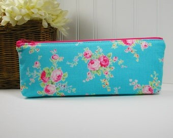 Long Zipper Pouch, Long Zipper Pouch, Long Pencil Case, Pencil Pouch.. Flower Sugar Roses in Aqua