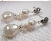50% OFF SALE Pearl Dangle Post Earrings Pave CZ Diamond Look Wire Wrapped Pearl Chalcedony Luxury Bridal Jewelry Wedding Earrings  Post Earr