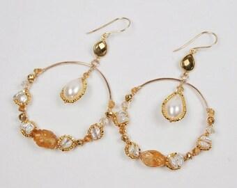 25% SALE Gold Gemstone Hoop Earrings, Hammered Hoop, Wire Wrap Gem, 14kt Gold Fill, Citrine, Keishi Pearl, Statement Earrings