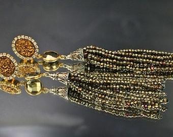 Gemstone Tassel Earrings Shoulder Duster Post or Clip On Earrings Diamond Bezel Style Pyrite Gold Druzy Long Pyrite Tassel Earrings Bohemian