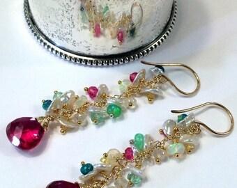 30% SALE Red Earrings Colorful Opal Earring Gold Fill Chain Dangle Boho Earring Pastel Keishi Pearl Cluster Multicolor Opal Sapphire Earring