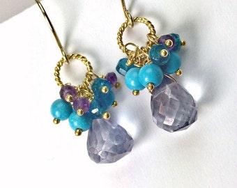 CUPID SALE xOx Blue Gemstone Earrings Denim Blue Quartz Earrings Amethyst Cluster Earrings Gold Wire Wrapped Blue Turquoise Beaded Earrings