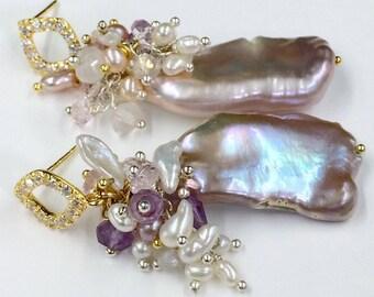 Silver Blush Biwa Pearls Boho Earrings Blush Lavender Gemstones Blush Keishi Pearls  Wire Wrap Romantic Boho Style Earrings