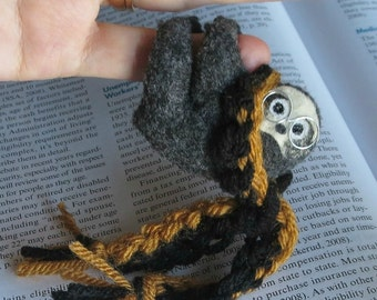 Back to school Sloth plush -  College dorm pet with glasses and scarf in your school colors - Rain forest stuffed animal toy