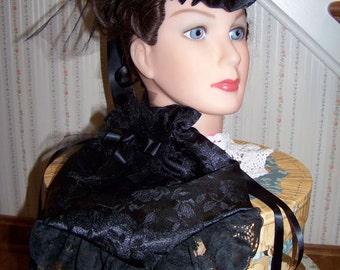 Ladies Civil War Hat and Reticule,Victorian Ladies,Black teardrop Rose Brocade with Black Satin ruffle costume
