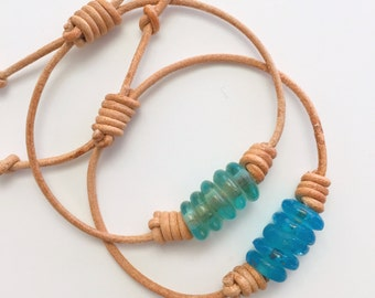 Blue Sea Glass Bracelet. Natural Leather and African Recycled Glass