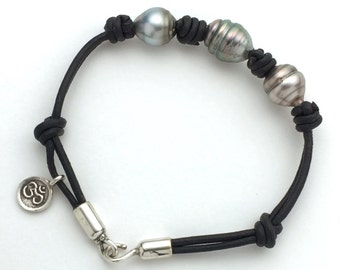 Genuine Tahitian Pearl Leather Bracelet. Sterling Silver, Yoga Ohm Charm