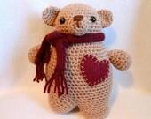Crochet Teddy Bear with Burgundy Felt Heart on Chest and Burgundy Knitted Scarf, Chubby Bear, Stuffed Animal, Stuffed Bear