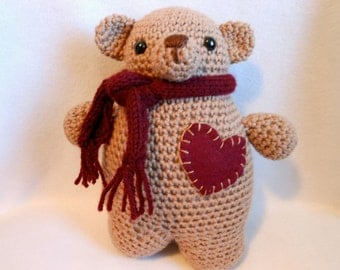 Crochet Teddy Bear with Burgundy Felt Heart on Chest and Burgundy Knitted Scarf, Chubby Bear, Stuffed Animal, Stuffed Bear