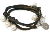 Silk Cord and Freshwater Pearls Wrap Bracelet andyANDmolly