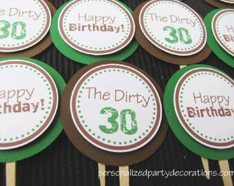 30th Birthday Party Decorations, Cupcake Toppers, Birthday Party Decorations, Customized