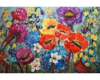 FLOWERS Oil Painting Impressionist Dahlia Flowers Impasto Art Spring to Summer by Luiza Vizoli