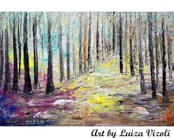 SPRINGLIKE Original Oil Painting Landscape Artwork on Canvas Birch Trees