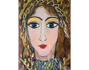 Angel Icon on Wood Original Modern Religious Handpainted OOAK ANGEL Rustic European Folk Art by Luiza Vizoli