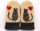 Cat Mittens Felted Sweater Wool Cream and Grey Cat Applique Leather Palm Fleece Lining Eco Friendly  Up Cycled Size M
