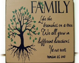 Family like branches on a tree we all grow in different directions wood sign