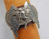 Leather Cuff Fairy Bracelet Silver Fantasy Bold Statement Jewelry Dancing Dramatic Art Deco Wing Nymph Unusual Unique