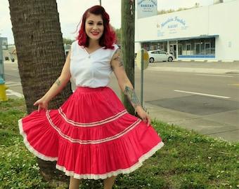 1950s Salmon Pink Cotton Tiered Patio Skirt - 27 in. Waist