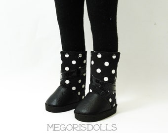 "Black and White Polda Dots Boots fit 13"" Little Darling Dolls"