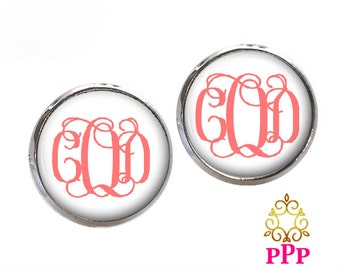 Monogram Earrings Monogram Stud Earrings, Monogram Jewelry Coral  (428)