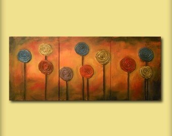 textured art triptych lollipop tree original painting whimsical orange art abstract painting acrylic tree sunset 20 x 48 Mattsart