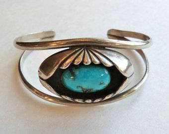 Vintage Turquoise Sterling Cuff Bracelet Boho Southwest