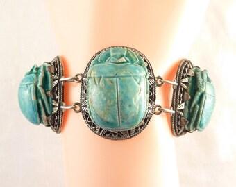 Antique Egyptian Sterling Large Ceramic Carved Blue Scarab Beetles Bracelet