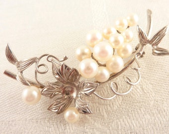 SALE ---- Vintage Curved Sterling and Cultured Pearls Flower and Vines Brooch