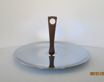 Large Silver Chrome Serving Tray with Wood Handle