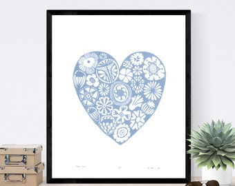 Flower Heart Limited Edition Screen Print (Serenity Blue) 50cm x 40cm size