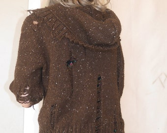 Brown Distressed Sweater