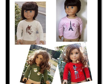 18 inch Doll Clothes -  Girl Dolls Clothes -   Tee Shirt - Themes -Paris- Owls - Cat - Horse (Your Choice of Color)
