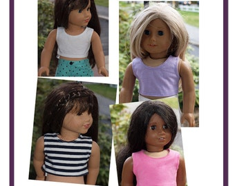 18 inch Doll Clothes - Girl Doll Clothing - 2 Cropped Top - color choices