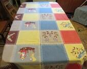 Large Linen Tablecloth 50's Vintage in Pennsylvania Dutch Pattern