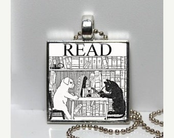 SaLe Vintage Cat Dog in Library READ Altered Art GLASS Pendant Charm Necklace