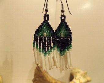 Native American inspired Earrings, Woven Bead Work Earring' Native American Jewelry, Seed Bead Earring, Woven Bead Earring, Healing Jewelry