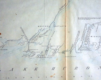 Antique Map of French River and Wahnapitae River, Ontario - Georgian Bay - 1857 Cottage Country Map - SHEET 6 - Vintage Map - Hand Coloured